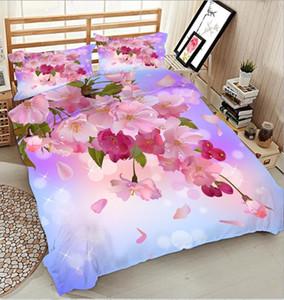 Queen 3D Bedding Set Twin California King Size Bed Linen Set Duvet Bed Cover Pink Flower Decoration Quilt Cover Pillowcase