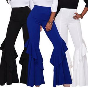 Partito delle donne sexy casuali Micro bell-bottom increspati asimmetrici Pantaloni Mutandine riassunto della signora Pant Abbigliamento