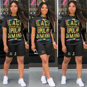 Siyah Akıllı Kadın Tasarımcı Eşofman Marka T-Shirt + Şort 2 Parça Setleri Kıyafetler Yaz Lüks Bodysuit Romper Spor Streetwears C62502