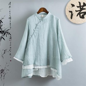 Rétro style chinois traditionnel Top pour les femmes filles double couche Lin Zen Tang Suit Top Perle en vrac élégant Hanfu Chemise en mousseline