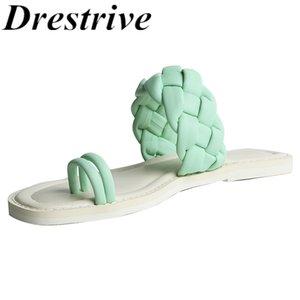Drestrive femmes Flops Flip Pantoufles 2020 Mode Sheepskin Flats été Chaussures Filles Casual Weave bout rond Chaussures de plage