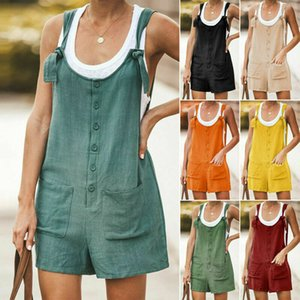Unifizz Womens Summer Simامية Linen Cotton Jump Suit Dungarees Pocket Shorts Playsuit Overall Pants