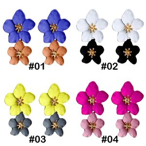 4 color New Fashion jewelry Big Double Flower Mixed Color earrings For Women Summer Style Party Wedding Exaggerated Earrings Wholesale