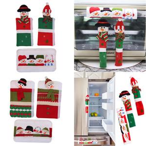 3pcs del pupazzo di neve di Natale natale frigorifero Forno a microonde Door Knob riguarda la copertura della porta arredamento maniglia