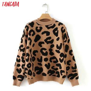 Tangada femmes print animaux d'hiver pull en tricot léopard hiver épais à manches longues femmes pull-overs occasionnels hauts 2x05 Y191019
