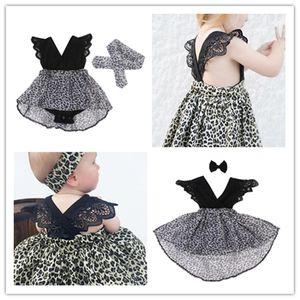 New Ins bebê Romper macacões crianças vestidos da moda Leopard Impresso vestido de verão meninas da irmã 2 Piece Roupa Set Vestido + Faixa de Cabelo E21902