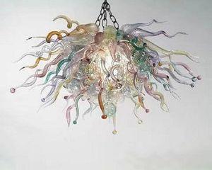 Großhandel LED geblasenes Glas Kronleuchter Beleuchtung Art Kronleuchter Glass Ceiling Hang Lichter Transparent Murano-Glas-Licht