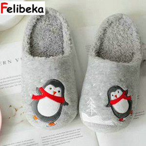 FELIBEKA pingouin écharpe de danse d'hiver et les amateurs chausson imperméable plancher intérieur chaussures à la maison en peluche thermique des femmes Y200107