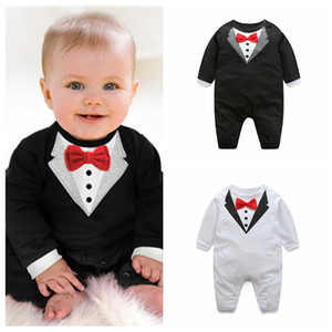 Good quality baby boy fashion long sleeve jumpsuits V collar pattern bowknot rompers baby boys design clothes infant kids gentle outfits