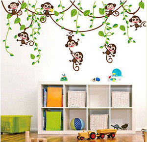 Kid Nursery Decor creativo Natura Nuovo scimmia animale Pastorale Jungle albero Wall Sticker vinile decalcomanie di arte PVC smontabile
