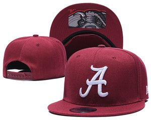 Femininos frete grátis Alabama Crimson Tide NCAA Snapback na cor vermelha EUA Colégio Letra A Adjustable Caps Logo