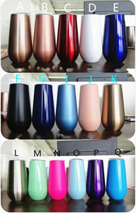 Vacuum New 6 oz vinho Stemless Champagne Glasses Aço inoxidável duplo Egg Cups Cocktail Beer Copos Mini canecas com Leakproof Lid 8