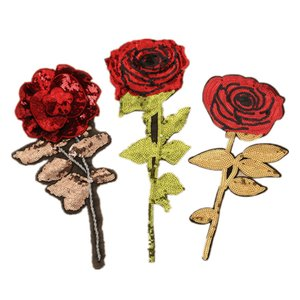 High-end garment accessories cloth with roses hand-sewn bead sequins embroidery new products