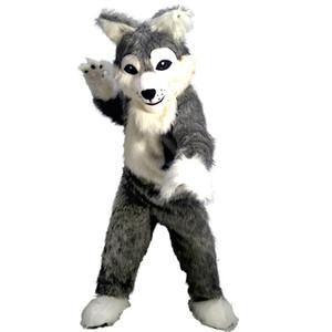 Lange grauen Wolf-Maskottchen-Kostüm-Cartoon-Charakter-Erwachsen-Größe Longteng hohe Qualität (TM) 0324