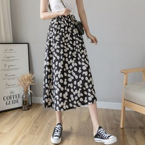 Little Daisy female 2020 word long floral A- word long skirt black high-waisted skirt