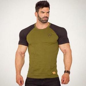 Muscle guys Fashion Men Clothes Short Sleeve shirt Gym TShirt Men Cotton T-Shirt Casual Sporting Panelled Fitness t-shirt