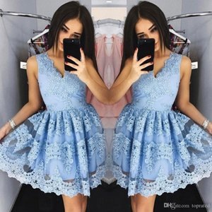 Light Blue Lace Sweety 2020 New Arrival Short A-line Party Dresses V-Neck sleeveless Satin Applique zipper custom made girl Homecoming Dress