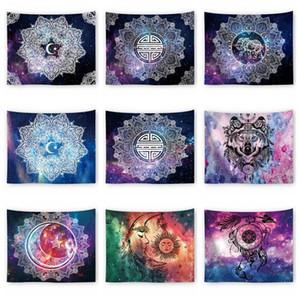 Cielo estrellado de la galaxia Tapiz sol luna atrapasueños colgar de la pared 150 * 130cm colcha decoración de la playa tapete de yoga toalla mantón manta AAA1759