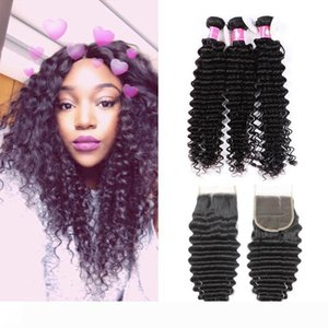 7A Deep Curly Virgin Brazilian Hair Bundles With Lace Closure Unprocessed Peruvian Human Hair Weaves With Closure 1B Black Soft Hair Weft