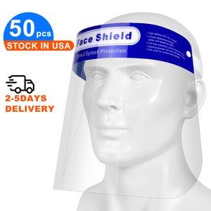 50pcs / lot clair Plein écran facial pour les hommes et les femmes, transparent respirante jetable sécurité en plastique facial Bouclier Protecte yeux