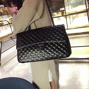 Designer-per le donne di grande capienza della borsa della borsa nero trapuntato spalla tracolla a catena Flap Satchel Viaggi