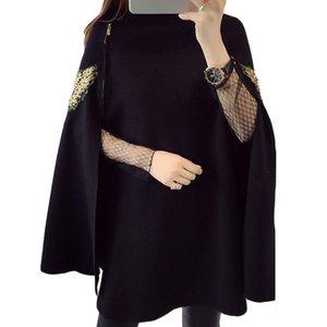 Tier Vogel Stickerei Knit Cape Frauen 2019 Herbst-Winter-Pullover Luxus Scoop Neck Pullover Mantel Mantel Frauenoberteile Ponchos