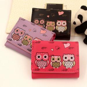 Carteras Mujer búho embrague mini-bolso de la carpeta monedero Corto Imprimir titular OWL cerrojo del monedero señoras de las muchachas de la moneda monedero de la tarjeta de dibujos animados