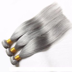 C Pure Color Silver Grey Brazilian Straight Hair Weaves 3 Gray Bundles With 13x4 Lace Frontal Silk Straight Pure Grey Frontal With Bund