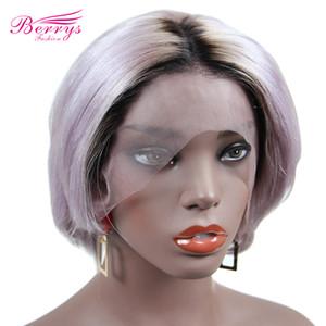 Frente del cordón Berryshair Nueva tendencia de la moda Pixie Cut peluca de pelo humano corto pelucas de pelo de color púrpura luz pelucas Negro Mujeres sin cola