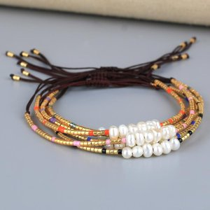 C.QUANCHI Delicate Gold Miyuki Seed Beaded Wrap Bracelets Bangles Handcrafted Natural Pearls Beads Elegant String Cuff Bracelets