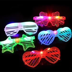 vidros coloridos Forma Led Óculos coração de incandescência do partido Light Up Shades Rave luminescentes óculos DJ Festa de Natal DecorationT2I5576