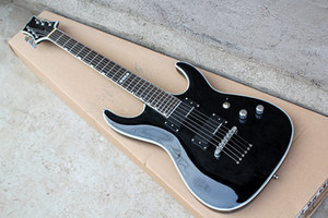 Negro Especial guitarra eléctrica, Chrome hardwares y piercing Cuerdas, HH Pastillas y negro Encuadernación, palisandro, se pueden personalizar