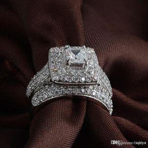Sıcak Uphot lüks Sparkle elmaslı Yüzükler Bayan düğün nişan yüzüğü seti hediye Moda Takı aksesuarları