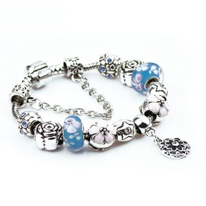 Blue Pink Flower Pan Dora Design Bracelets Beads Charms Jewelry for Women Girls Antique Vintage Silver Crystal Glass Fashion Star Bangle Hot