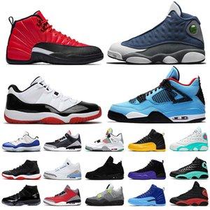 Nike Air Jordan Retro 13S Travis Scott 4 4S 3 3s 11 11S 12 Jumpman Flint 13 Reverse Flu Game 12s off white Hommes Femmes Basketball Chaussures Baskets Baskets
