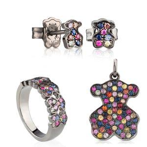 100% 925 d'argento colorato Sapphire pendente dell'orso 213.674.580 dolce romantico Anelli dell'orecchio Anello 313.673.520 C313675580