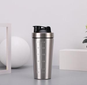 Edelstahl-Protein Shaker Bottle-Protein-Pulver Gym schütteln Milkshake Mixer Sports Water Single Layer 3 Farben Flasche