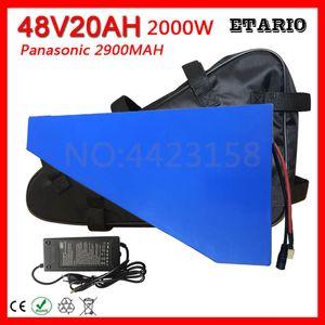 Di alta qualità 2000W 48V 20AH bici elettrica Triangolo batteria Lithium libero del sacchetto per cellulare Panasonic 2900mAh 50A BMS