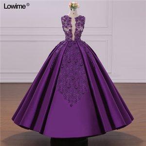 Dark Purple Lace Appliqued A linha Prom Dresses V Elegante Neck Lace Vestido de Noite Curto Formal Cocktail Vestido