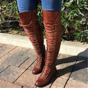 Kadınlar Uzun Çizme Lace Up Deri Bayan Üzeri Diz Boots Kış Kadın Ayakkabı Artı boyutu 34-43 Bayanlar Boots