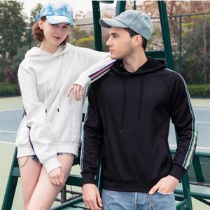 Womens retalhos Primavera Casal Designer listrado Hoodies dos homens com capuz do pescoço solto camisola da moda Sexo Masculino Tops Casual