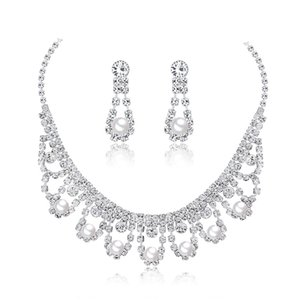 Two-piece bridal jewelry set Fashionable temperament bride rhinestone necklace Necklace earrings two-piece spot11