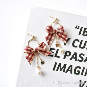 DHL Simple Bow Style Earrings Women Creative Cool Versatile Plaid Hong Ventilation Network Red Ear Stud free shipping
