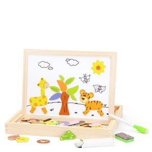 2020 Hot Sales Girls Birthday Gift Wooden Toy Magnetic Puzzle Multi-function Multi-color Multi-class Drawing Board Blackboard