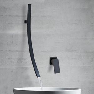 Preto Bronze / Chrome torneira da banheira Mixer Bacia Toque Duche Cachoeira bico longo Bathroom Faucet água quente e fria Mixer