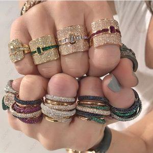 Monaco Luxury Design Statement impilabile anello di nozze per le donne cubico zircone fidanzamento Dubai punk nuziale Top anelli di barretta