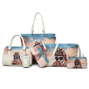 6pcs / Set Moda bolsas femininas Prints PU Leather Composite Bag Clutch Set Large Shoulder Bag Purse Feminino