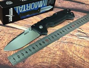 Soğuk çelik AD-10 iniş noktası CPM S35VN paslanmaz çelik katlanır bıçak, siyah G10 sayısal kontrol kolu, tek parmak kadın itme açık,