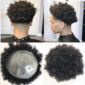 Afro Curly Toupee Full Pu Curly Toupee para hombres 8x10 pulgadas Negro Todos los sistemas de reemplazo de postizos de piel 100% Cabello humano Cabello remy indio