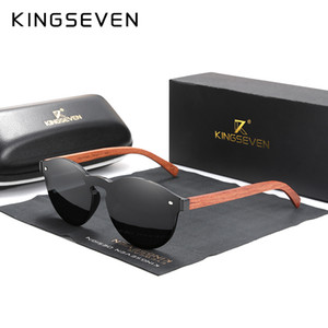 Gafas de sol de la INSIGNIA naturales de madera de Bubinga KINGSEVEN hombres polarizados de vidrios de madera Moda Gafas de sol accesorios originales